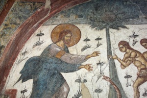 Christ cursing Adam, Eve and the Serpant